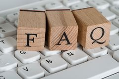 Faq wooden cubes Royalty Free Stock Image