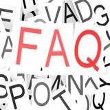 FAQ word cloud. Image with hi-res rendered artwork that could be used for any graphic design Stock Images