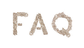 FAQ written with small cubes. FAQ written in letters formed with wooden cubes with letters isolated on white background Stock Photos