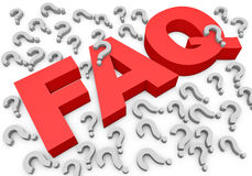 FAQs 3D Text. Faq caption and dozens of red question mark Royalty Free Stock Image