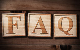 FAQs 3D Text on wood. Stock Images
