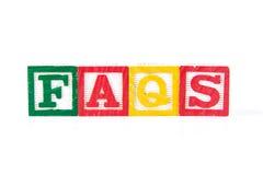 FAQS - Alphabet Baby Blocks on white Stock Photo