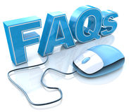 FAQs 3D Text with Computer Mouse stock image