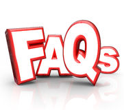 FAQs Frequently Asked Questions 3D Letters Acronym. The letters FAQs standing for Frequently Asked Questions in 3D lettering representing question and answer Stock Image