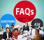 FAQs Frequently Asked Questions Solution Concept Stock Photography