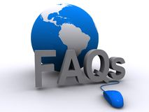FAQs and globe. Illustration of globe and FAQs isolated on white Royalty Free Stock Photography