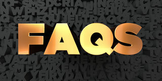 Faqs - Gold text on black background - 3D rendered royalty free stock picture Stock Images