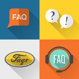 FAQs icons set flat design Stock Photography
