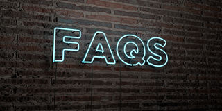 FAQS -Realistic Neon Sign on Brick Wall background - 3D rendered royalty free stock image Royalty Free Stock Image