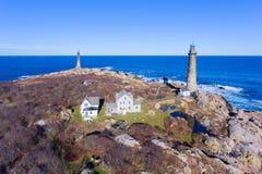 Faróis da ilha de Thacher, cabo Ann, Massachusetts foto de stock