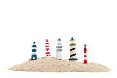 Faróis na praia Fotos de Stock Royalty Free