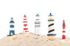 Faróis na praia Fotografia de Stock