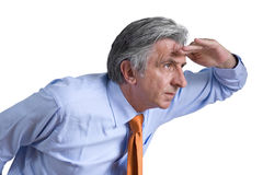 So far 2. Gray-haired senior wearing an orange tie and a light blue shirt looking forward Royalty Free Stock Photo