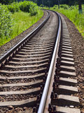 Far away. Rural railroad in summer day stock photography