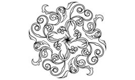 Far away from darkness. Broken shadow life ancient ornament original tattoo art design leaf pattern tradition traditional nature myth print shirt idea black royalty free illustration