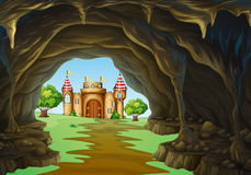 Far away kingdom with castle and cave Stock Images