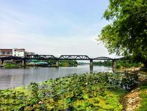 A far away pretty and unique view of the Bridge over the river Kwai in Kanchanaburi, Thailand. Lily pads are floating on the river in the foreground stock photos