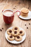Far away shot of plate of chocolate peanut blossom cookies Stock Images