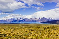 Far away from Torres del Paine peaks panoramic view royalty free stock image