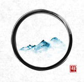 Far blue mountains in fog in black enso zen circle on rice paper background. Traditional oriental ink painting sumi-e, u. Far mountains in fog in black enso zen Royalty Free Stock Photo