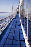 Far Deck of Cruiseliner. A walk along the far left of the cruiseliner providing ocean calm waters Stock Images