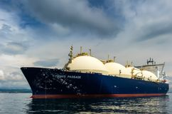 Nakhodka, Russia - June 21, 2018: LNG-tanker Cygnus Passage at anchor in the road. Royalty Free Stock Photo