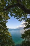 View of the autumn coast on a bright day. Royalty Free Stock Photo