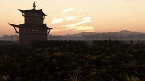 Far East Sunset Landscape stock illustration