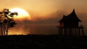 Far East Sunset Silhouette vector illustration