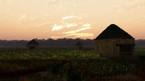 Far East Sunset Village Landscape royalty free illustration