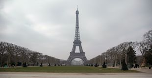 Far Eiffel. Eiffel Tower from a distance with park stock photo