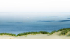 Far from Home. Lonely Yacht or Boat is Visible Far from the shores in a Dreamy Calm Water Royalty Free Stock Image