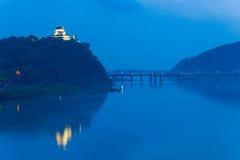 Far Illuminated Inuyama Castle Night River Blue Stock Image