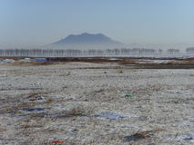 Far look into the distance Chinese Xingcheng Shoushan, after the snow. Royalty Free Stock Photo