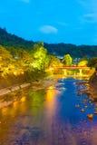 Far Naka-Bashi Bridge Down River Takayama Twilight Stock Photography