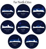 Far north cities collection. Blue Circular icons. Far north vector cities collection. Detailed skylines in circular background vector illustration