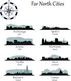 Far north cities collection. Far north vector cities collection. Detailed skylines Royalty Free Stock Image