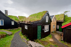 Far Oer downtown grass roof wood house F�r �er T�rshavn Stock Photography