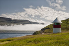 Far Oer lighthouse landscape Stock Photos