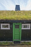 Far Oer village grass roof wood house Stock Photo