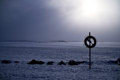 Winter wonderland views of the frozen lake stock image