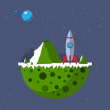 Far out plane with space rocket from outer space. Rocket and planet with rocky mountains and craters. Flat design.  on color background Stock Images