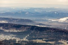 Far plan from the mountain, Ural, city Miass royalty free stock photography