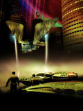 Far planet city. Virtual presentation of a futuristic city on an alien planet of Saturn, with skyscrapers and spaceships, one of them landing close to us Stock Photo