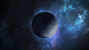 Far planet loopable rotation. Seamlessly loopable animation of flying around the distant planet located somewhere in space stock footage