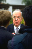 Far Right Icon. Whittier, CA - 29 April 1994. Republican senator from North Carolina & family values crusader, Jesse Helms, pauses to speak with reporters at Royalty Free Stock Photos