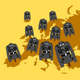 Far-right and nationalism in Europe. Set of pinned military uniforms show locations across map of Europe - rise of far-right and nationalism in European states Stock Images