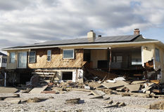 Destroyed beach house in the aftermath of Hurricane Sandy in Far Rockaway, NY Stock Images