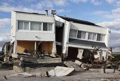 Destroyed beach house in the aftermath of Hurricane Sandy in Far Rockaway, NY Royalty Free Stock Images