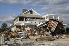 Destroyed beach house in the aftermath of Hurricane Sandy in Far Rockaway, NY Stock Photo